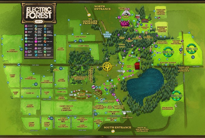 Electric Forest 2019 Festival Map