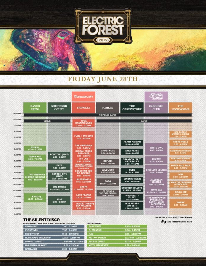 Electric Forest 2019 Set Times Friday