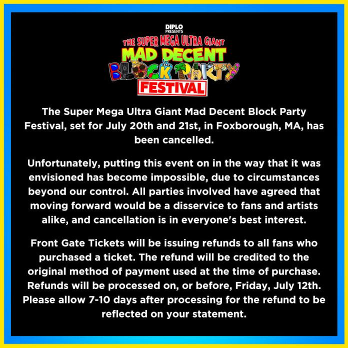 Super Mega Ultra Giant Mad Decent Block Party Canceled