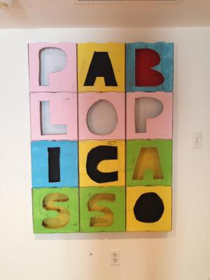 Acrylic painting on pizza boxes by Edmond van der Bijl, A portrait of Pablo Picasso