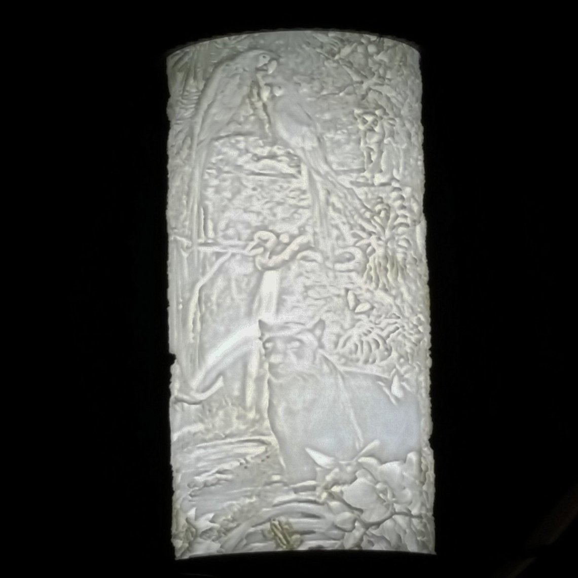 3D printed lithoplehane jungle scene