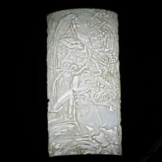 3D printed lithoplehane jungle scene