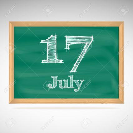 July 17, inscription in chalk on a blackboard, day calendar, school board, date