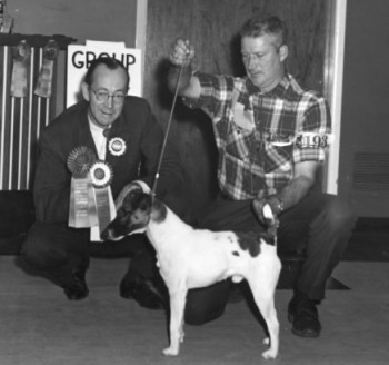 Jim Kilgannon, EKC Life member, Conformation Judge, exhibiting a Smooth Fox Terrier. Jim was also active in field events with his retrievers and loved to hunt.