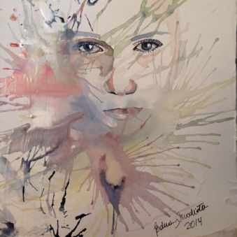 watercolor, ink and acrylic dough in paperboard, 23x30,5cm Price: SOLD
