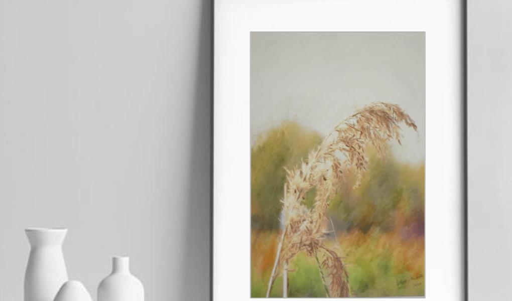Pampedna faz parte da série Pampas 2020, e é uma aquarela de Capim dos Pampas de Edna Carla Stradioto e foi feita em papel 100% aldogão, livre de ácido, da marca Hahnemühle Anniversary Edition, 425gsm, de 36x48cm, de 2020.