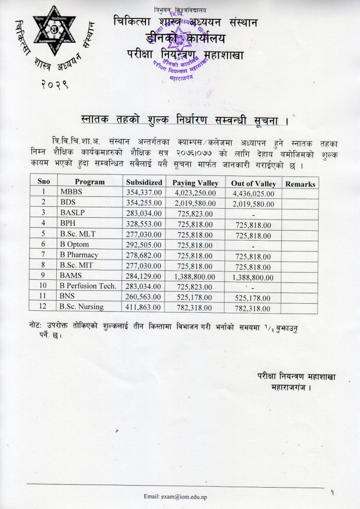 Fee Structure of Bachor Level Program by IOM