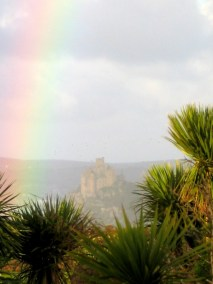 A rainbow over St Michael' Mount seen from Ednovean Farm Garden