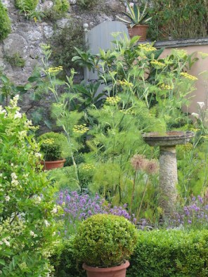 Bird bath in an enclosed herb garden