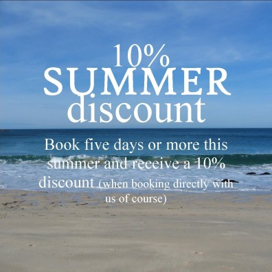 Direct reservation offer - 10% Summer discun for holidays of five nights or more booked now at Ednovean Farm - sea lapping on to