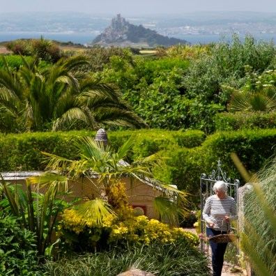 General info - sea view over sub tropical garden above Mounts bay from Ednovean Farm a luxury Bed and Breakfast near Penzance