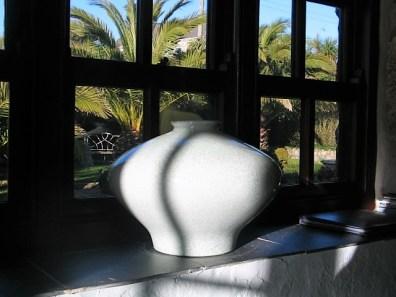 crackle glazed vase on slate window sill