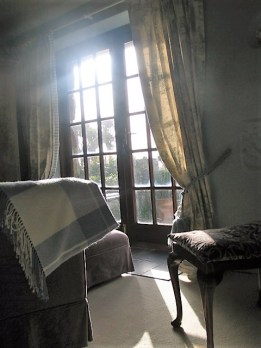 light streaming through french doors