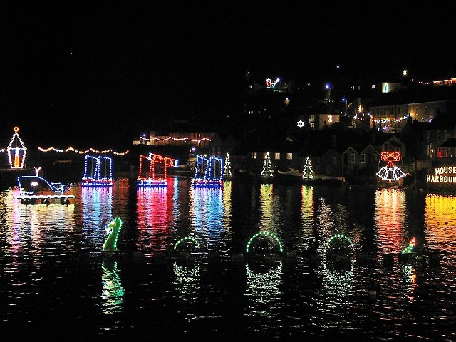 Christmas lights in a cornish harbour _- Mousehole