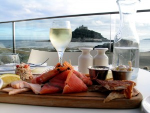 Places to eat with great views and supper for two overlooking St Michael's Mount
