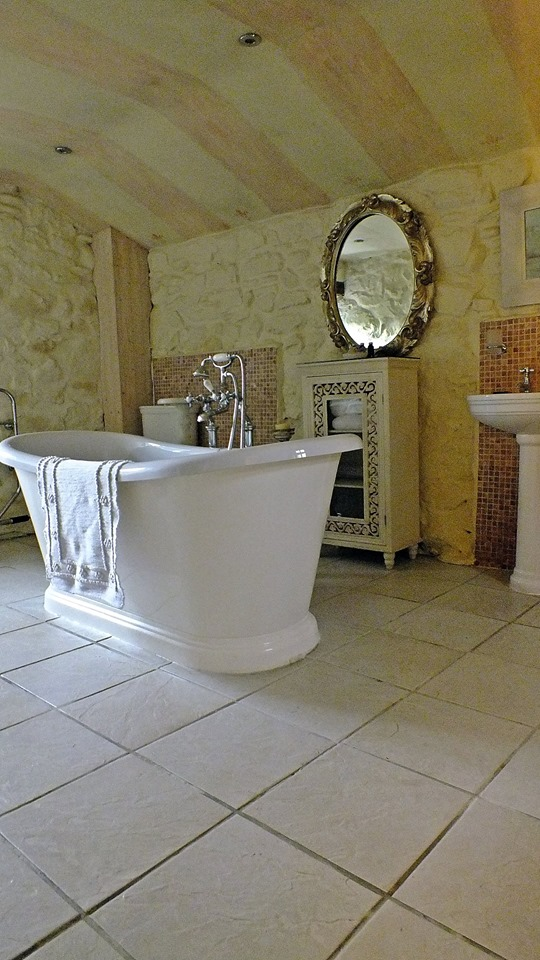Vintage bathroom with free standing bath