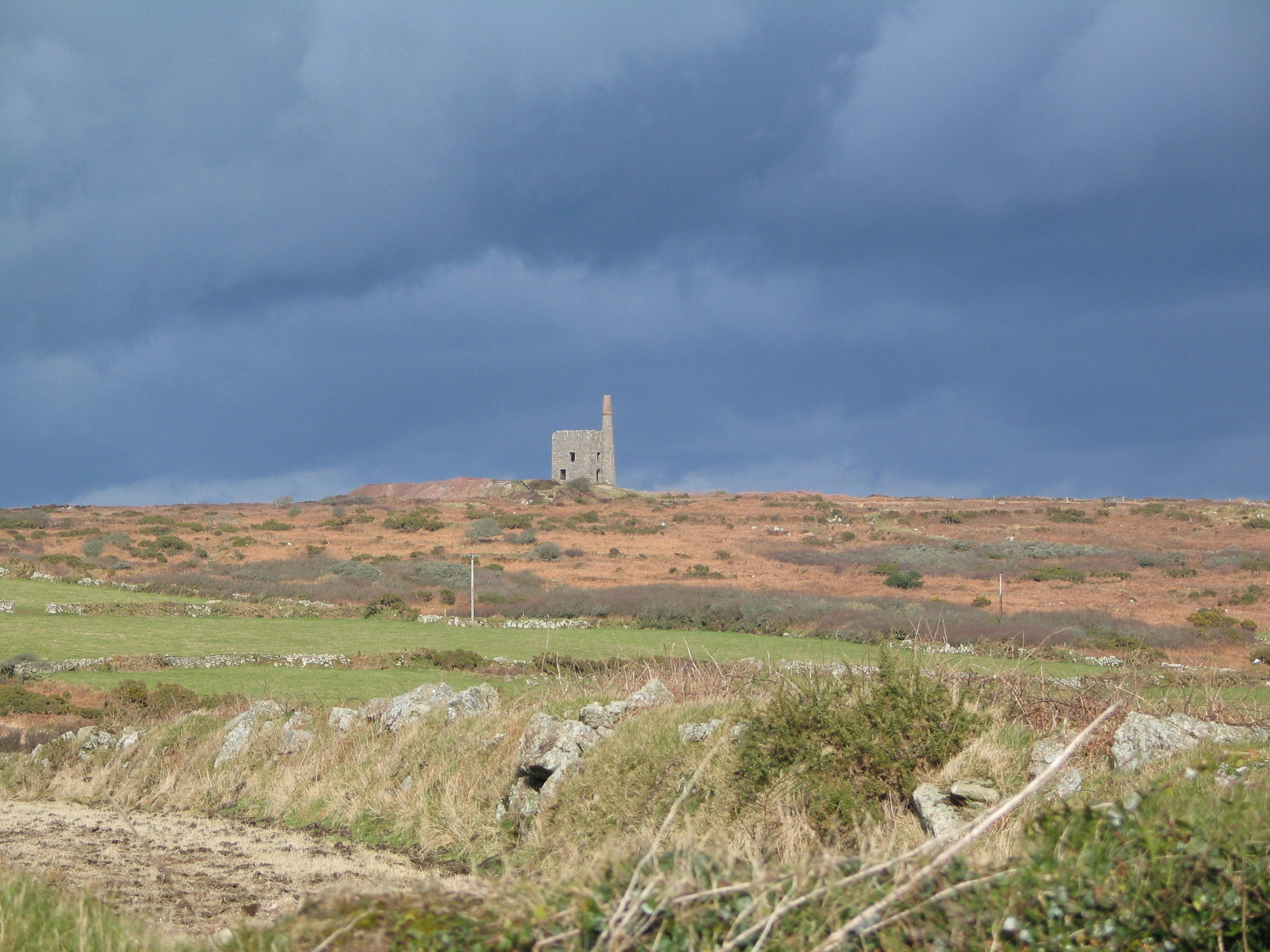 The Cornish moors with isolated engine house