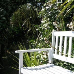 Garden bench with a sea view