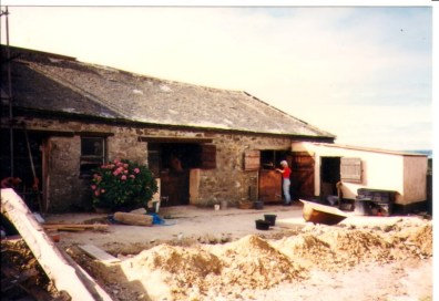 The lower buildings that started life as a cow shed before serving as a stable for my horses for many years. now it hosts the Blue and the Apricot room