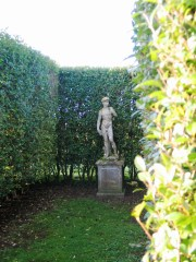 Statue of David stands in the Italian Gardens at Ednovean farm