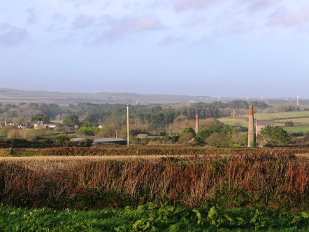 The hills that back St Ives i the distance