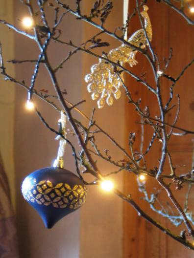 Peacocks and baubles for this year's guest sitting room