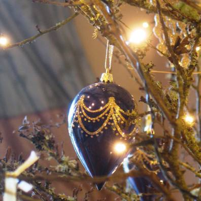 silk curtains and christmas bauble