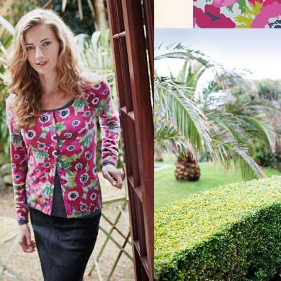 Fashion model with Itatlian garden backdrop