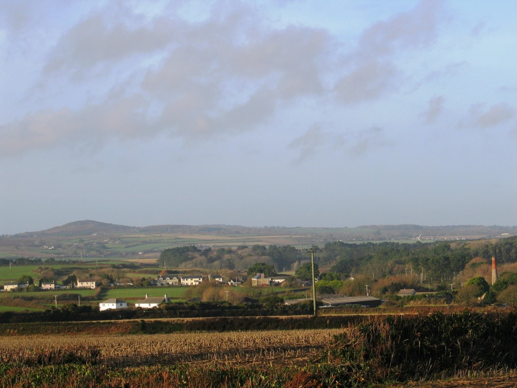 The farmland sweeps across West Penwith towards St Ives