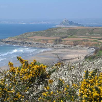 Perranuthnoes safe sandy beach from the coastal footpath