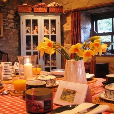 Farmhouse breakfast ready for B&B guests