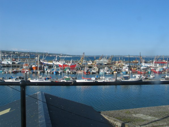 I snatched a photo of fishing boats of Newlyn as we drove passed