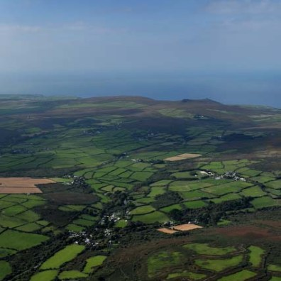 The patchwork of tiny fields that make up the farms of the Land' End Peninsula