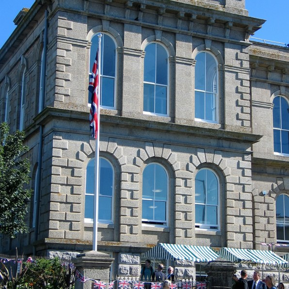 St john's hall and market stalls in Penzance