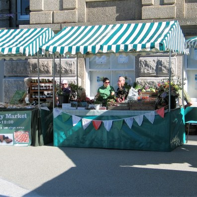 Farmers market in front of St john's Hall in Penzance