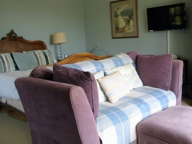 The capacious sofa set in front of the French doors