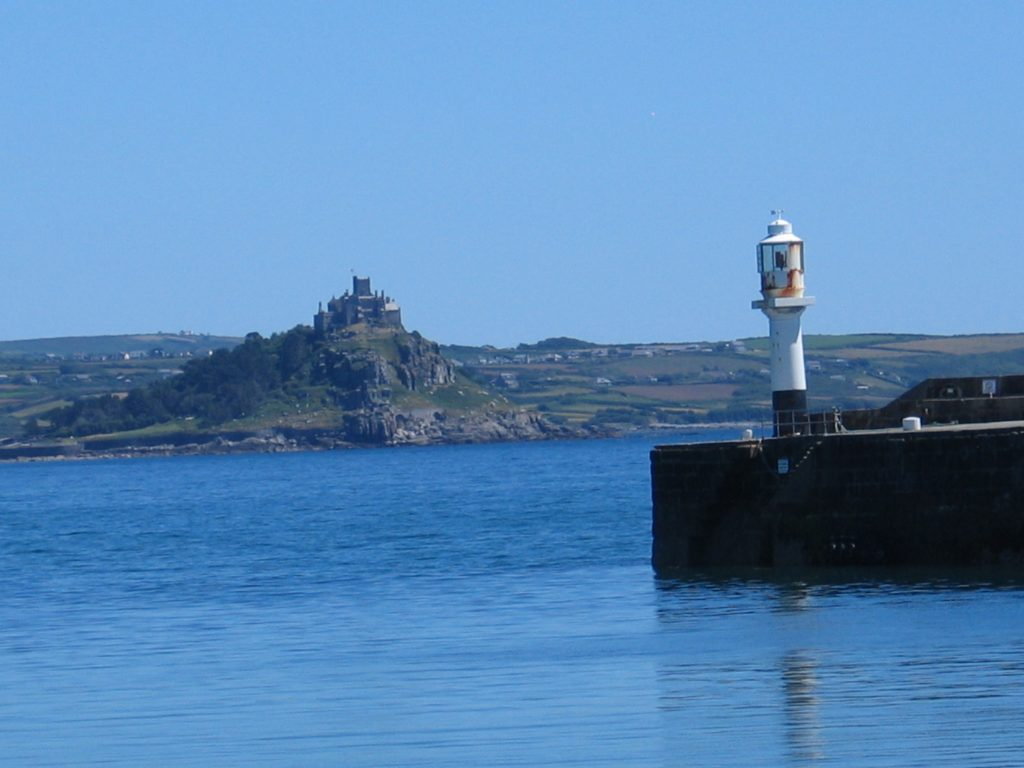 A view from the ross bridge over Penzance harbour to St Michael's Mount