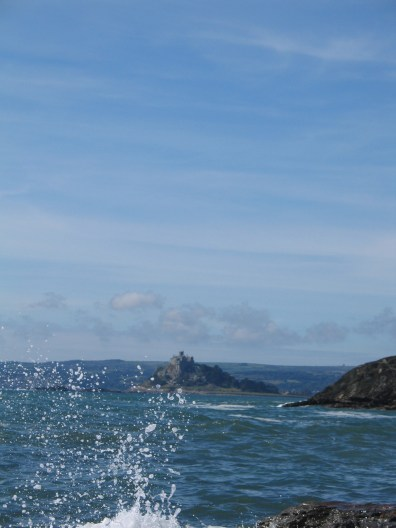 We watched teh sea spray lift with St Michael's Mount beyond us