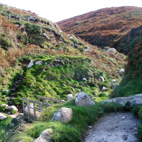 rugged heathland flanks the stream above Portheras Cove