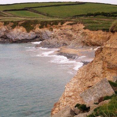 view down from the cliff to stony cove