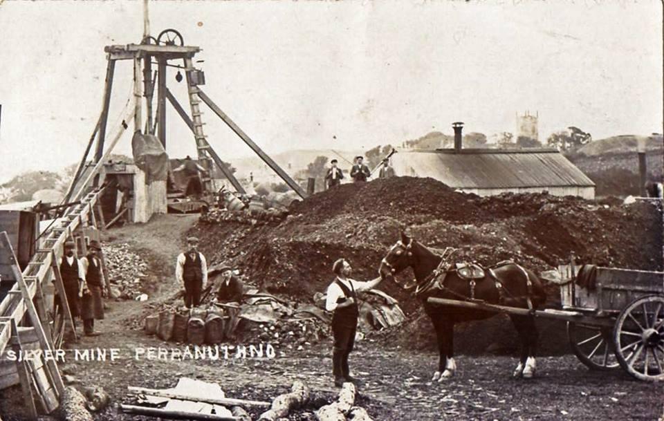 historic photo of silver mine in Perranuthnoe