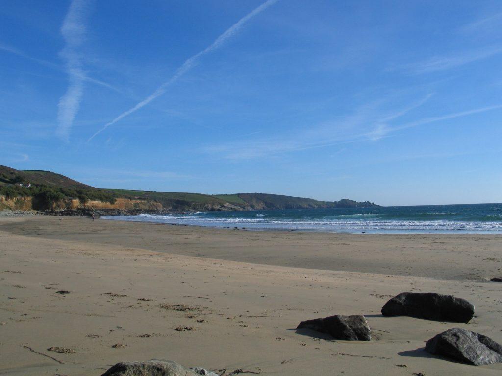 low tide exposes the beach at Perranuthnoe
