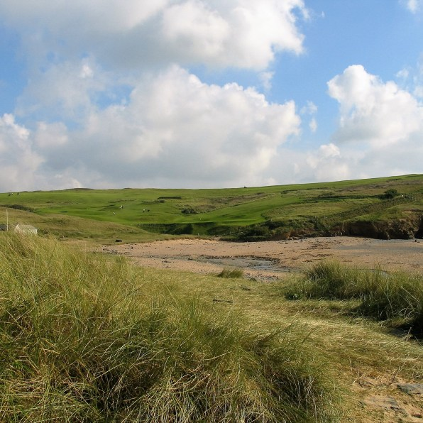 Golf course and dunes above Gunwalloe beach