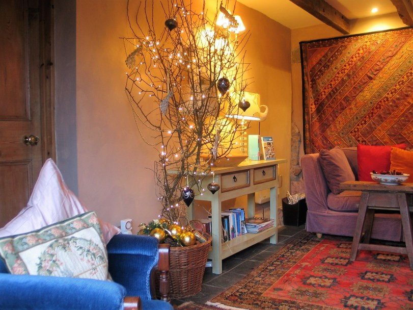 A cosy sitting room with minimalist thorn Christmas Tree