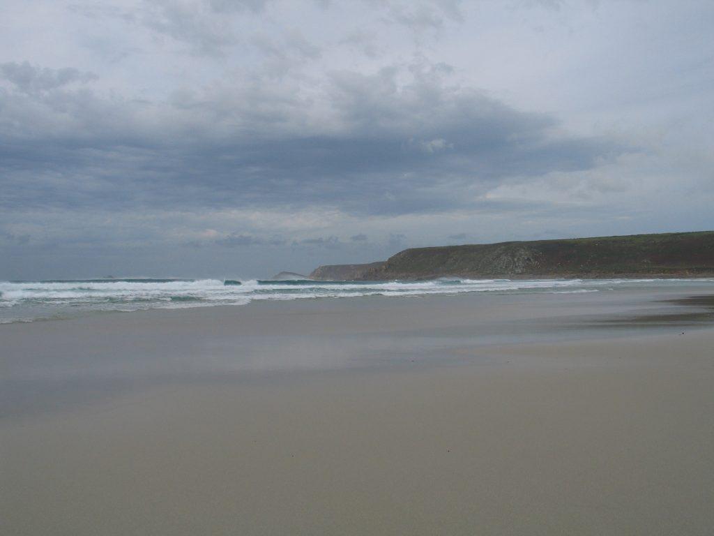 approaching storm at sennen beach