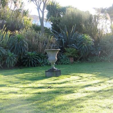 spiral mown into lawn around urn