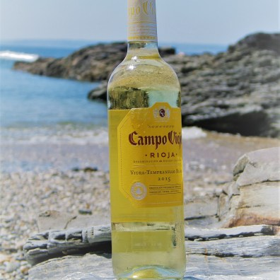 chilled wine on a beach
