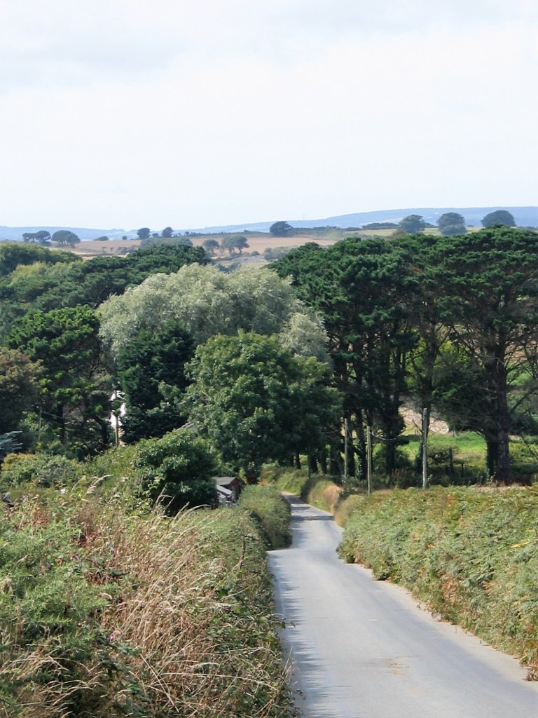 Country lane into a valley