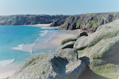 cornwall secret beaches looking down on sandy beach
