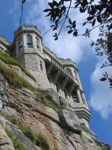 dramatic castle turrets far above us